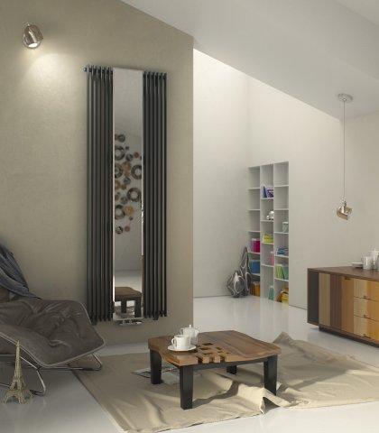 Aurora mirror vertical designer tube radiator agadon heat design - Designer radiators for living rooms ...