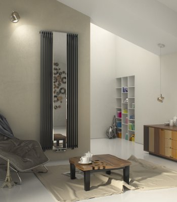 Aurora Mirror Vertical Designer Tube Radiator Agadon Heat Design