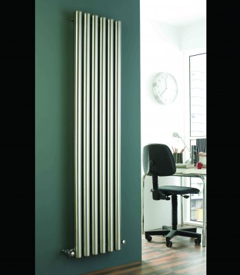 Duett Round Brushed Stainless Steel Vertical Tube Designer Radiator