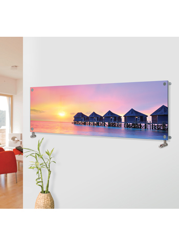 Glass Designer Horizontal Radiator H6 Water Villas Sunset Image