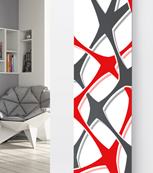 Glass Designer Radiator P111 Red and Grey Abstract Image