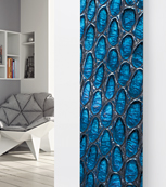 Glass Designer Radiator P116 Blue Stained Glass Image