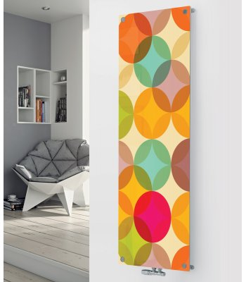 Glass Designer Radiator P157 MULTI COLOURED CIRCLES IMAGE