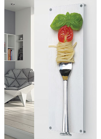 Glass designer radiator P163 Pasta with Fork Image