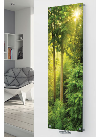 Glass Designer Radiator P197 SUN LIGHT FOREST IMAGE
