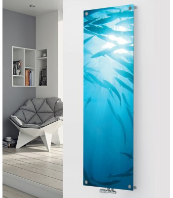 Glass Designer Radiator P25 Under Water Fish Glass Image