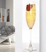 Glass Designer Radiator P66 Champagne with Single Strawberry Image