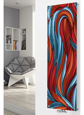 Glass Designer Radiator P68 Red and Blue Abstract Image - 1800 x 445 Single - Red/Blue