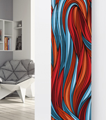 Glass Designer Radiator P68 Red and Blue Abstract Image