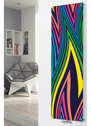Glass Designer Radiator P99 Multi Coloured Abstract Image