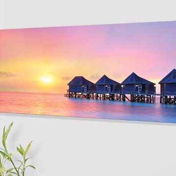 Panio Crystal Glass Designer Horizontal Radiator H6 Water Villas Sunset Image