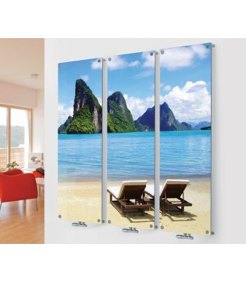 Panio Crystal Glass Designer Radiator M2 Sunbeds on the Beach Triple Image