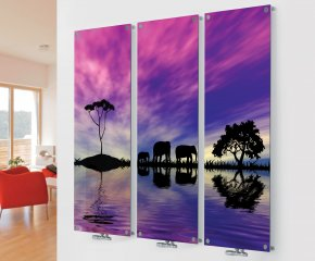 Panio Crystal Glass Designer Radiator M3 Elephants Triple  Image