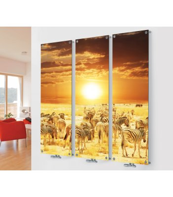 Panio Crystal Glass Designer Radiator M6 Zebra Sunset Triple  Image