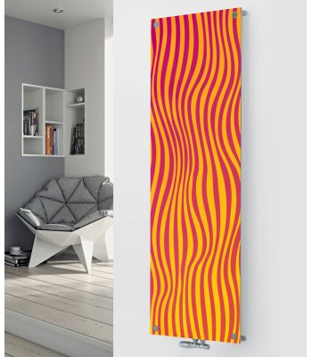 Panio Crystal Glass Designer Radiator P105 Red/Orange Lines Abstract Image