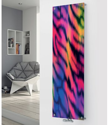 Panio Crystal Glass Designer Radiator P109 Multi Coloured Abstract Image