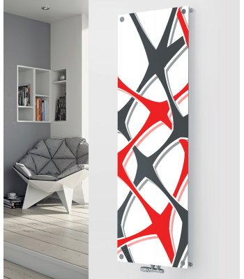 Panio Crystal Glass Designer Radiator P111 Red and Grey Abstract Image
