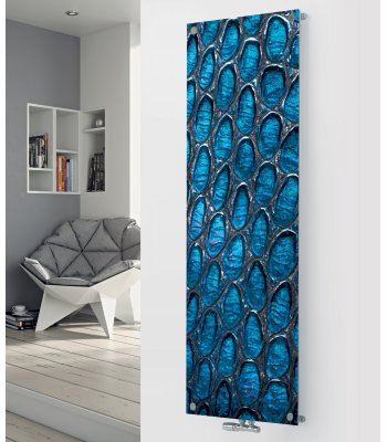 Panio Crystal Glass Designer Radiator P116 Blue Stained Glass Image