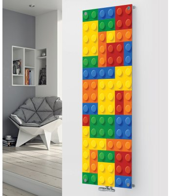 Panio Crystal Glass Designer Radiator P145 COLOURED BUILDING BRICKS
