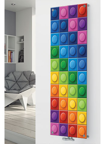 Panio Crystal Glass Designer Radiator P164 Multi Colour Squares Image