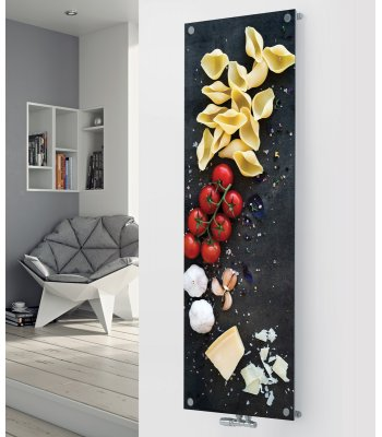 Panio Crystal Glass designer radiator P167 Vine Tomato and pasta Image