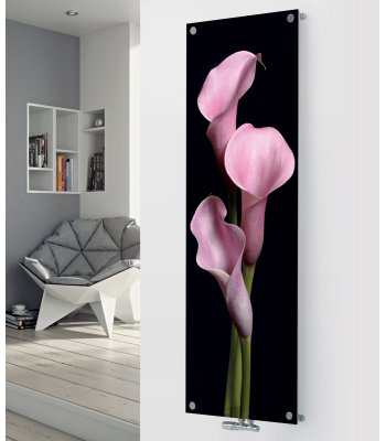 Panio Crystal Glass Designer Radiator P62 Black Pink Flower Image
