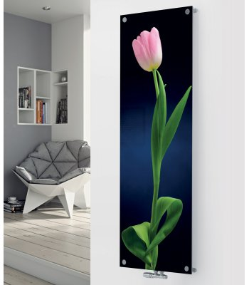 Panio Crystal Glass Designer Radiator P64 Pink Tulip on Black Image
