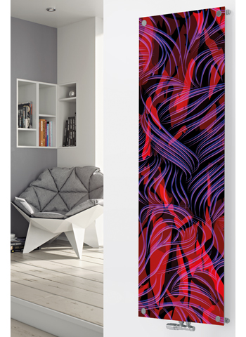 Panio Crystal Glass Designer Radiator P82 Multi Coloured Abstract Image