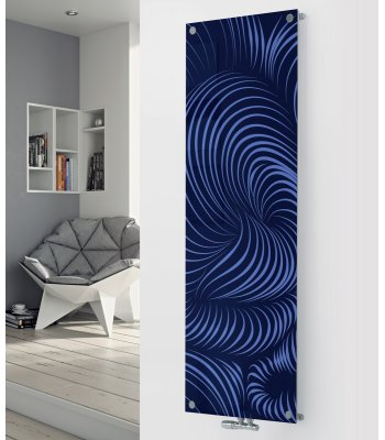 Panio Crystal Glass Designer Radiator P83 Blue Abstract Image