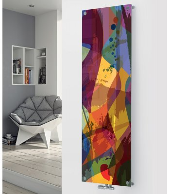 Panio Crystal Glass Designer Radiator P92 Multi Coloured Art Image