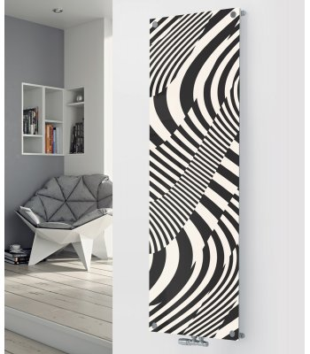 Panio Crystal Glass Designer Radiator P95 Black and White Abstract Image