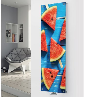 Panio Crystal Glass Picsture Designer Radiator P187 WATER MELON IMAGE