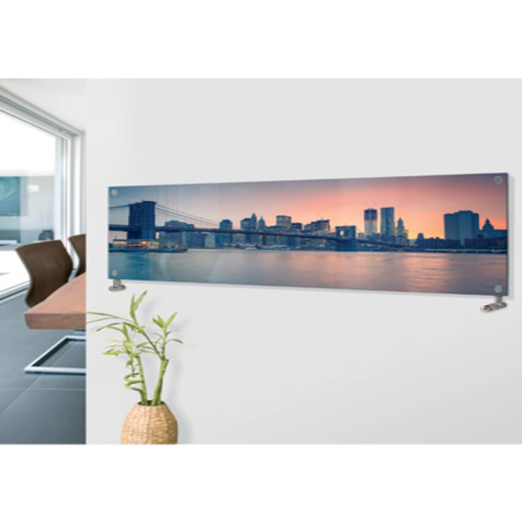 Panio Crystal Glass Picture Designer Horizontal Radiator H01 Brooklyn Bridge Image