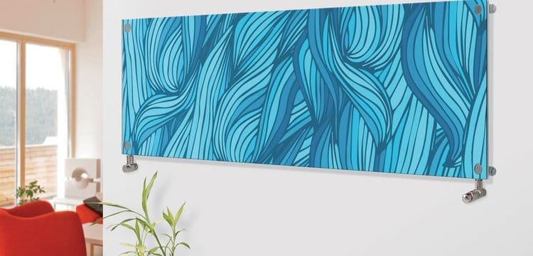 Panio Crystal Glass Picture Designer Horizontal Radiator H08 Blue Plaiting Weaved Image