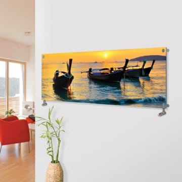 Panio Crystal Glass Picture Designer Horizontal Radiator H09 Sunset Boats Image