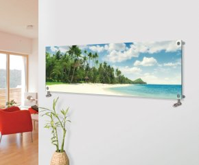 Panio Crystal Glass Picture Designer Horizontal Radiator H10 Tropical Beach Image