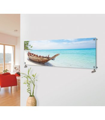 Panio Crystal Glass Picture Designer Horizontal Radiator H11 Boat On The Beach Image