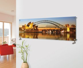 Panio Crystal Glass Picture Designer Horizontal Radiator H13 Sydney Harbour Image