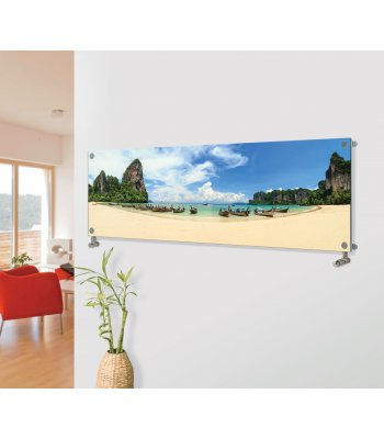 Panio Crystal Glass Picture Designer Horizontal Radiator H15 Boats on the Shore Image