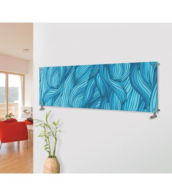 Panio Crystal Glass Picture Designer Horizontal Radiator H8 Blue Plaiting Weaved Image