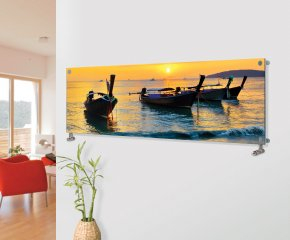 Panio Crystal Glass Picture Designer Horizontal Radiator H9 Sunset Boats Image