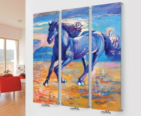 Panio Crystal Glass Picture Designer Radiator M10 Horse Triple Image