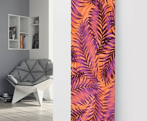 Panio Crystal Glass Picture Designer Radiator P113 Orange/Purple Ferns Image