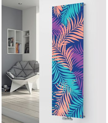 Panio Crystal Glass Picture Designer Radiator P114 Multi Coloured Ferns Image