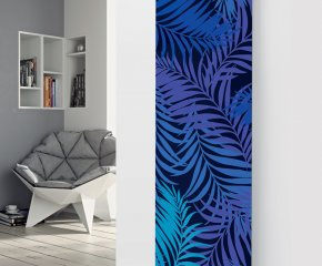 Panio Crystal Glass Picture Designer Radiator P115 Blue Ferns Image