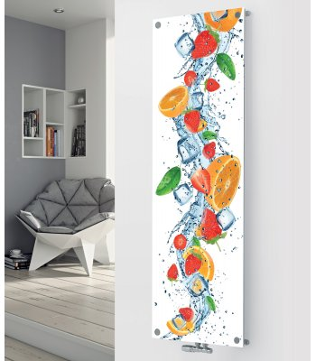 Panio Crystal Glass Picture Designer Radiator P135 Orange Fruit Splash