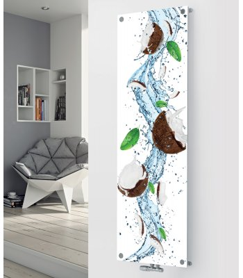 Panio Crystal Glass Picture Designer Radiator P137 Coconut Splash Image