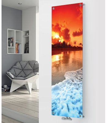 Panio Crystal Glass Picture Designer Radiator P143 SHORE LINE BY SUNSET