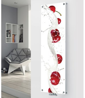 Panio Crystal Glass Picture Designer Radiator P152 RED CHERRIES IMAGE