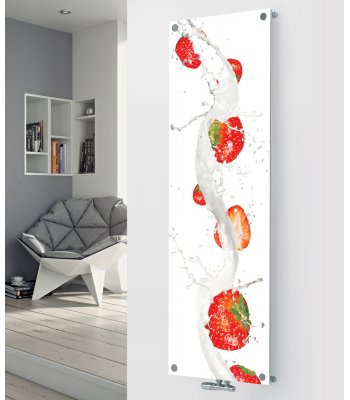 Panio Crystal Glass Picture Designer Radiator P153 STRAWBERRIES IMAGE